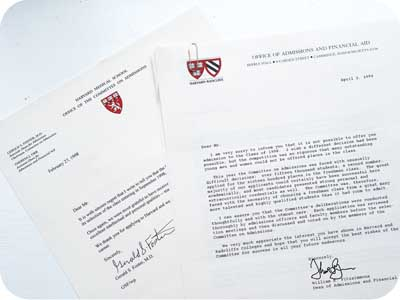 Harvard Rejection Letters