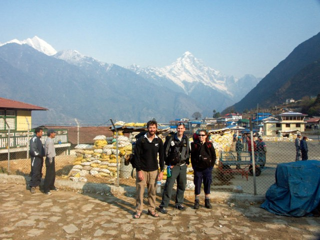 Moments after landing in Lukla. First sight of mountains.