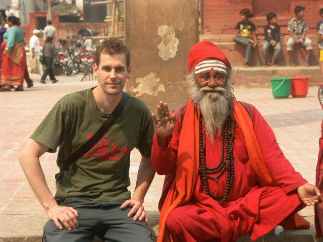 Sitting with a local holy man in Kathmandu