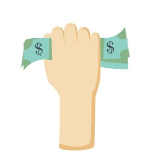 Hand holding money. Money in hand. Hand with money. Hand holding money vector. Hand giving money. Hand holding money icon. Hand and money. Hand holding money in flat style.