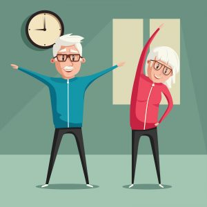 Senior people and gymnastics. Elderly couple. Grandparents doing exercises. Sport. Morning exercises. Cartoon vector illustration