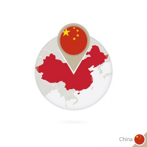 China map and flag in circle. Map of China China flag pin. Map of China in the style of the globe. Vector Illustration.