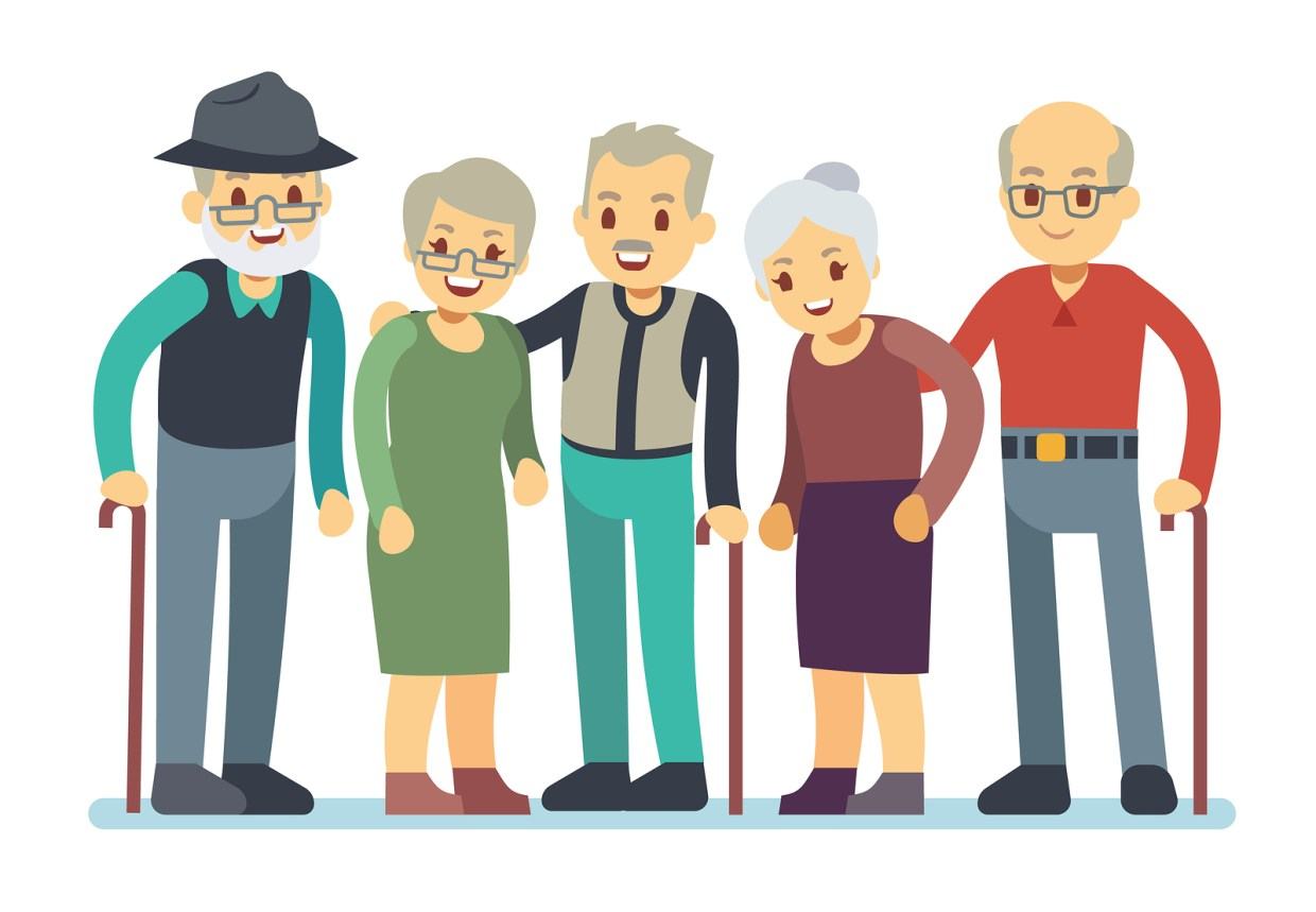 Group of older people, happy.