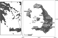 Map of Santorini caldera, and its location within Greece, the recent volcanic islands of Nea Kameni and Palea Kameni and nine key locations considered in our assessment of the potential ash and gas impacts from a future eruption at Santorini volcano