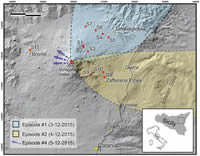 Map of Mt. Etna with sampling sites and dispersal areas of fallout deposits produced by explosive episodes occurring on 3–5 December 2015.