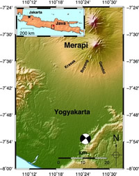 Location of Merapi Volcano