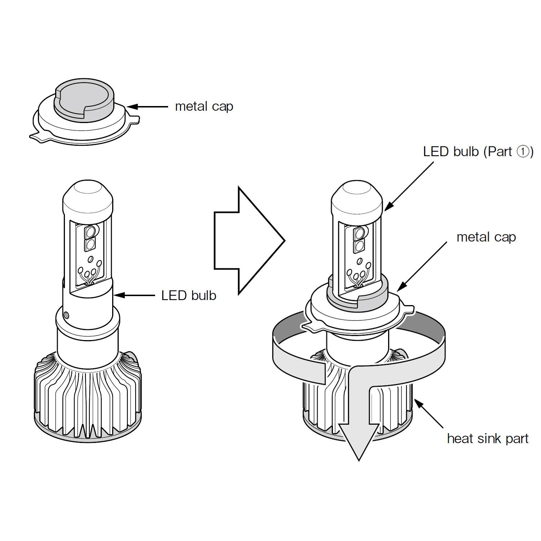 h4 9003 high output led bulbs 6000k twin packpiaa h4 led bulb base install [ 1500 x 1500 Pixel ]