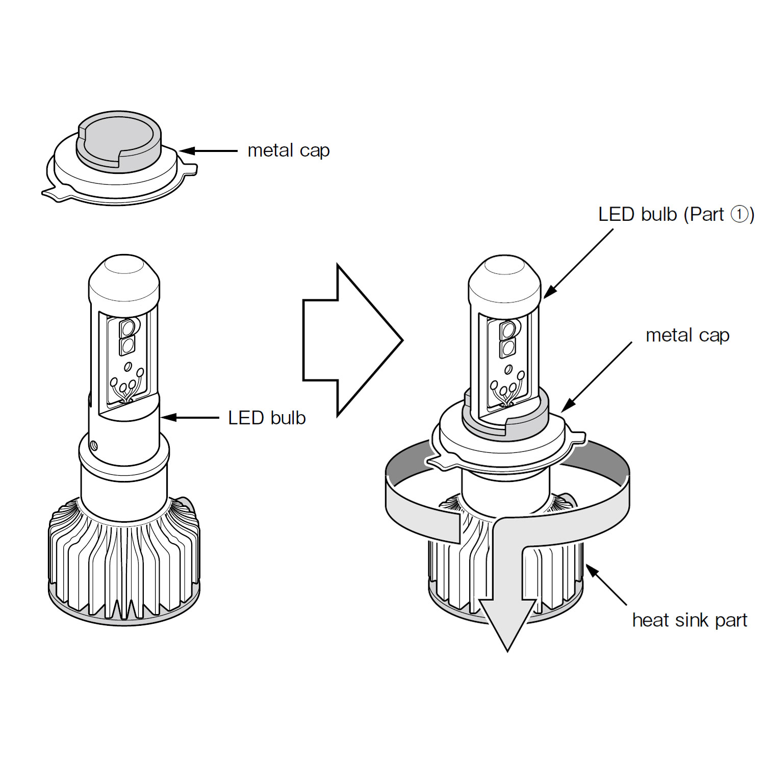 small resolution of h4 9003 high output led bulbs 6000k twin packpiaa h4 led bulb base install