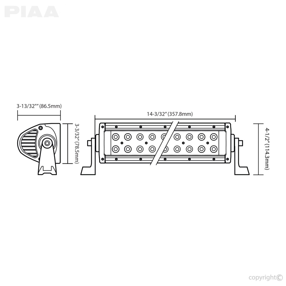 small resolution of  piaa quad 12inch led light bar dimensions