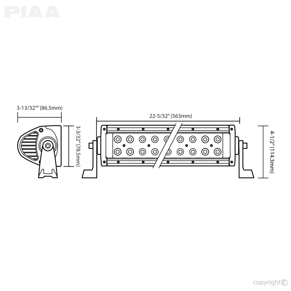 piaa quad 20inch led light bar dimensions  [ 1000 x 1000 Pixel ]