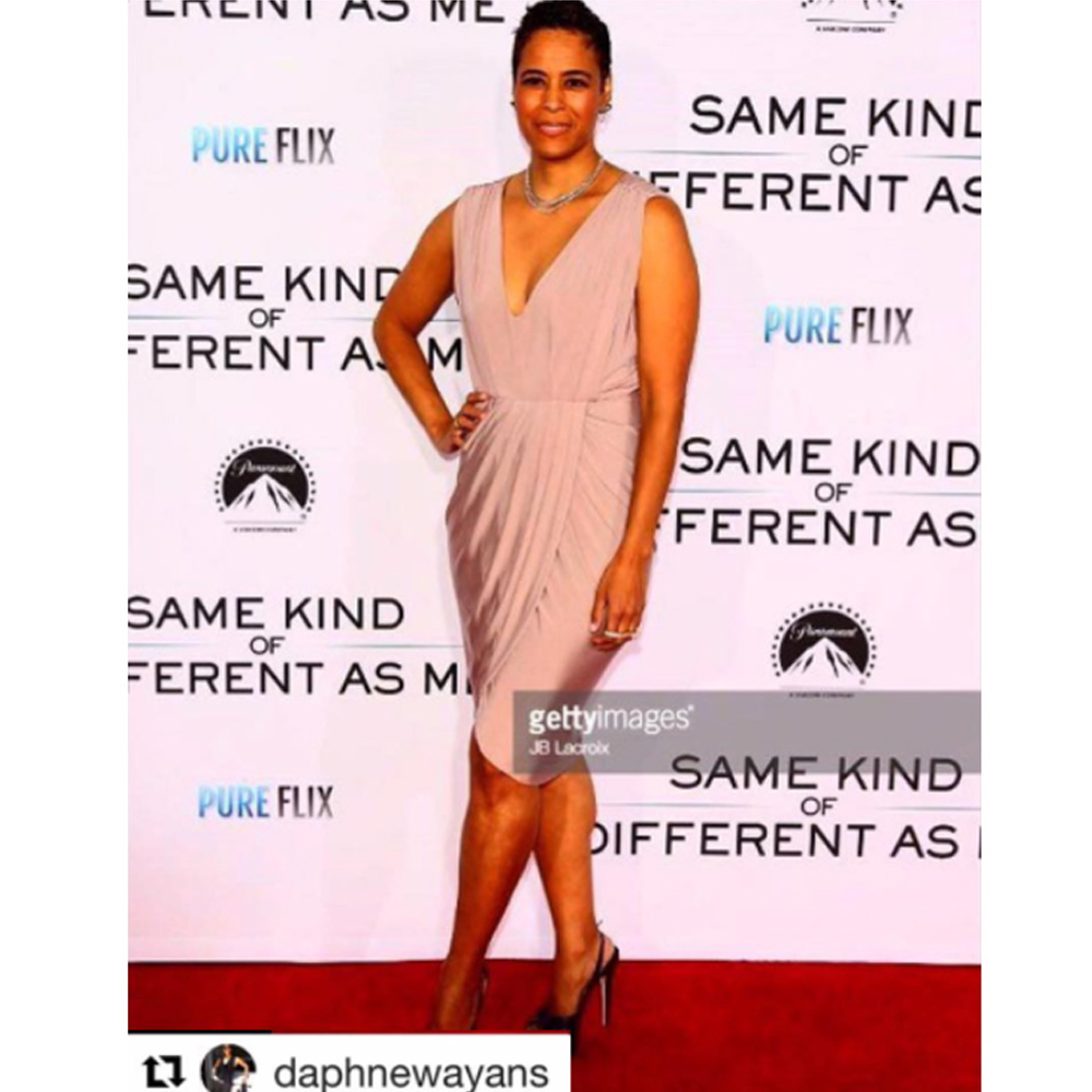 Daphne Wayans wearing our Carla dress in rosy latte as she attends the premier of same kind of different as me in Los Angeles