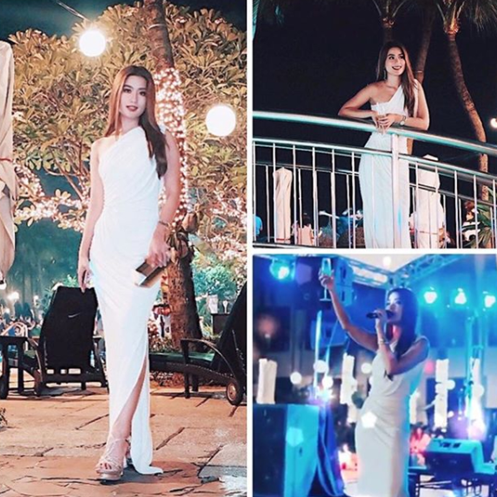 Janeena Chan wearing our Pfeiffer dress as she hosts sofitel manila's New years eve party