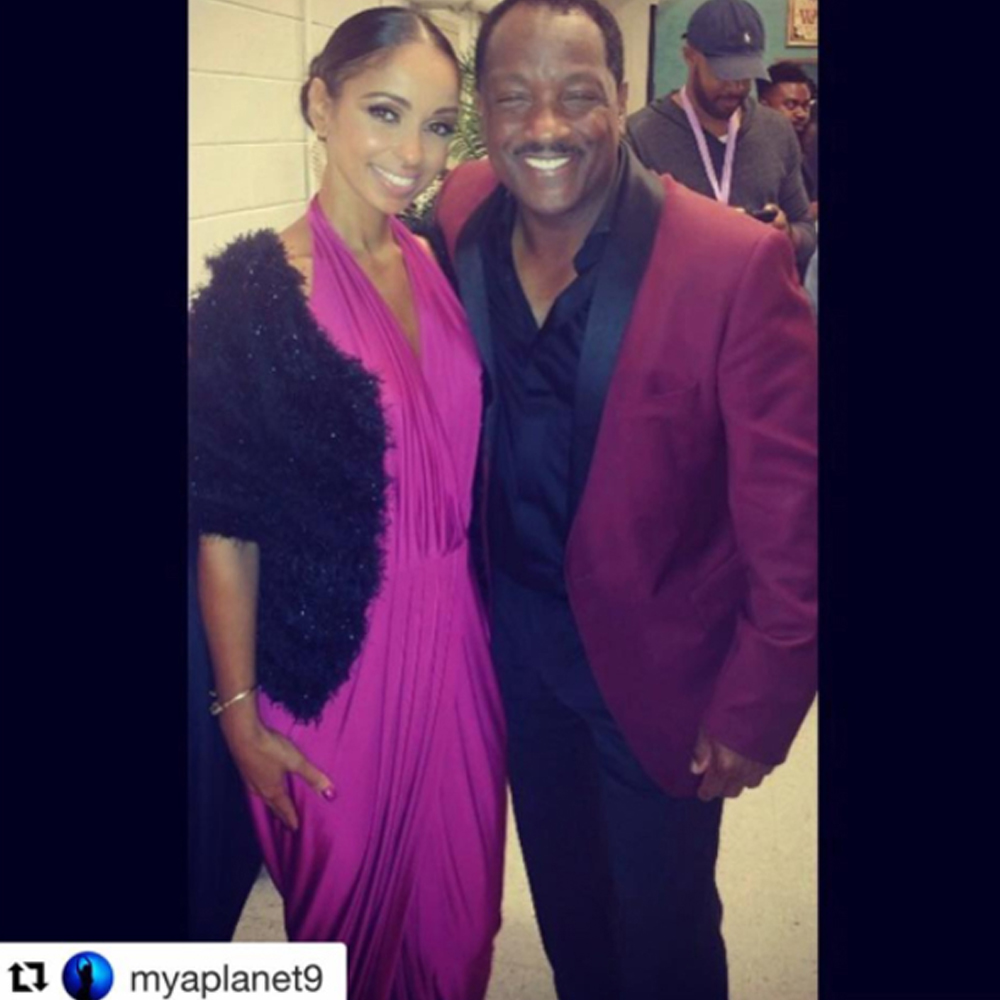 award winning recording artist miss mya wearing our Mary jumpsuit as she attends the 40th Anniversary of the man