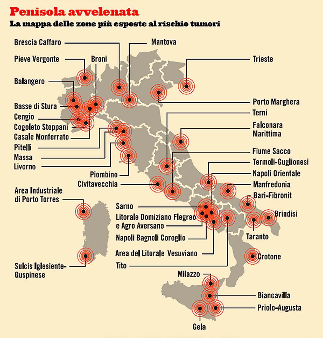Ministero della Salute: Le 44 aree d'Italia più inquinate e a rischio tumori