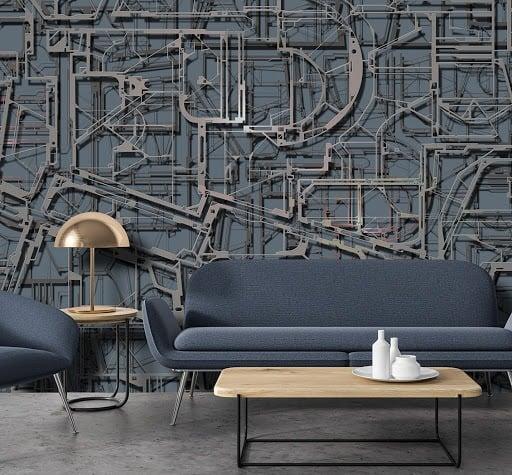Targusi] #annatargusi #creativadarredo #vintage #vintagelifestyle #cartadaparati #industrial #cartadaparatitnt #wallpaper # #wallpapershop. Carta Da Parati In Stile Industriale