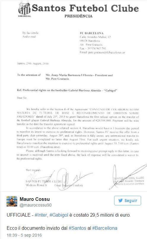 Il documento ufficiale che attesta il prezzo effettivo di Gabigol pagato dell'Inter - Marco Cossu (Passioneinter.com)