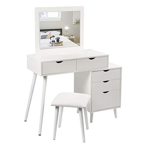 Organizzare un mobile trucco per creare un angolo beauty in casa è abbastanza semplice e può. Woltu Mb6059ws Toeletta Da Trucco Tavolo Cosmetici Con Grande Specchio E 5 Cassetti Sgabello Imbottito Colore Bianco