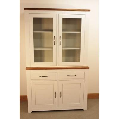 meuble vitrine haut en bois blanc 2 tiroirs 4 portes