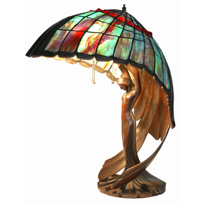Flying Lady  Tigers Eye Shade Tiffany Style Desk Lamp