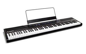 Alesis Recital – Piano Numérique 88 Touches pour Débutant/Clavier avec Touches Semi-Lestées de Taille Authentique, Adaptateur Secteur, Enceintes Intégrées et 5 Voix Premium