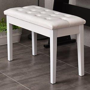 Casart Banquette de piano Tabouret de rangement élégant de luxe Cuir PU souple Confort Blanc