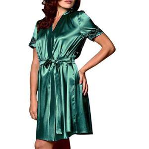 feiXIANG Femme Chic Peignoir Soie Dentelle Robes Sexy Erotique Femme Robe de Chambre Chemise de Nuit en Satin Nuisette Lingerie Pyjama Peignoir Robe de Nuit