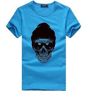 feiXIANG T-Shirt – Printemps Été, Homme Mode Casual Simple Multicolore Humour Imprimé Col Rond Tee Shirt Couleur Unie Tops à Manches Courte Slim Fit Pullover Chemisiers Blouse (Bleu,M)
