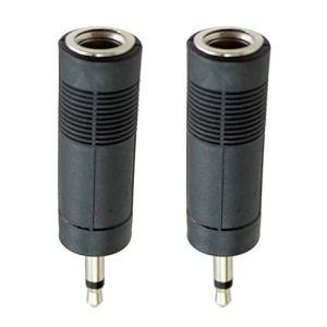 Lot de 2 adaptateurs jack audio pour guitare basse 6,35 mm vers 3,5 mm Noir Stereo