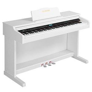 SUNCOO Clavier LCD Digital Piano 88 touches avec 3 pédales, adaptateur et USB/MIDI, Blanc