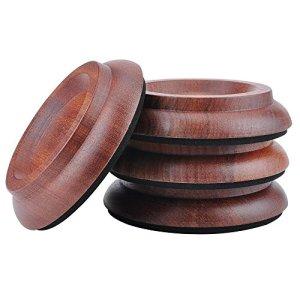 KingPoint, lot de 4 coupelles en bois dur pour roulette de piano droit, tampons de protection pour pieds de meuble Sapele wood