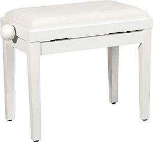 Steinbach 401 Banc de piano avec assise en tissu blanc mat
