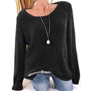 ❤ Femme Mode Casual Col Rond Couleur Unie De Laine Pullover Manches Longues Slim Chic T Shirt Tops Simple Blouse en Vrac feiXIANG (Noir,M)