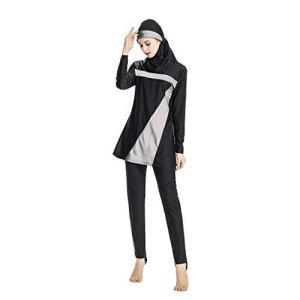Heligen Maillot de bain 2 pièces pour femme Musulman Burkini Surf avec bonnet de bain pour femme musulmane avec bonnet de bain Couleur unie 4XL gris