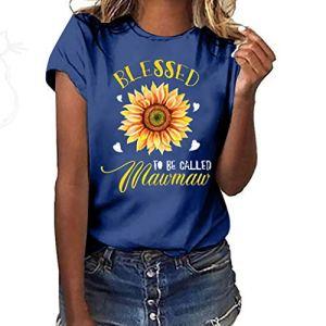 Hucode Été Femme Imprimé T-Shirt à Manches Courtes Absorption Respirant Mode Casual Tee Shirt Top T-Shirt à Manches Courtes pour Femmes Grande Taille