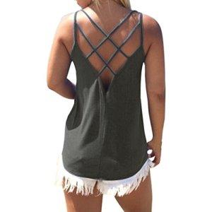 Trunly Débardeur Femme Grande Taille Sexy Chic Col Rond sans Bretelles Camisole sans Manches Mode Fille D'été Veste T-Shirt Chemisier Blouse Hauts S-XXL