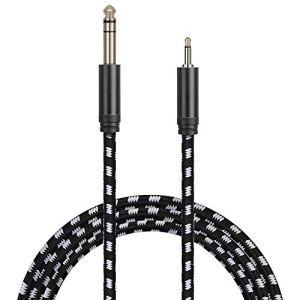 Anpro Câble Audio 3.5mm(1/8 inch) vers 6.35mm(1/4 inch) En Nylon Tressé Noir-Blanc Câble Jack 6.35 Mâle vers 3.5 Mâle de 3M Pour Haut-parleurs,Téléphone,Lecteurs de DVD,Cinéma Maison,Table de Mixage