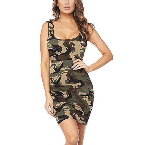 Fantaisiez Robe Hanche Femmes Imprimé Camouflage sans Manches Crayon Robes Moulant Slim Sexy Jupe Décontractée Mode Robe de Soirée Cocktail Élégant