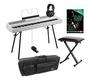 Lot de 280WH portable Piano Korg SP (88Touches, Clavier NH, en Kit avec support, clavier de banque, écouteurs, école sac et Piano) Blanc