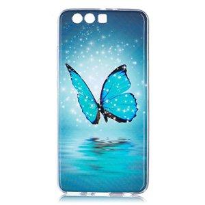 Hpory Case Cover Huawei P10 Plus Coque Silicone Fluorescent Lumineux Housse Etui Ultra Mince Souple Beau Housse de Protection TPU Silicone Bumper Case,Papillons Bleu