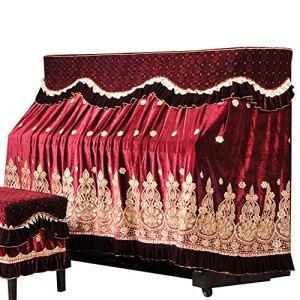 Cvbndfe Housse Piano Premium Ice Soie coréenne Toison Broderie Piano Parfaitement Tissu Dentelle Broderie Tissu avec antipoussière Tabouret Couverture (Couleur : Rouge, Taille : 76x36cm)