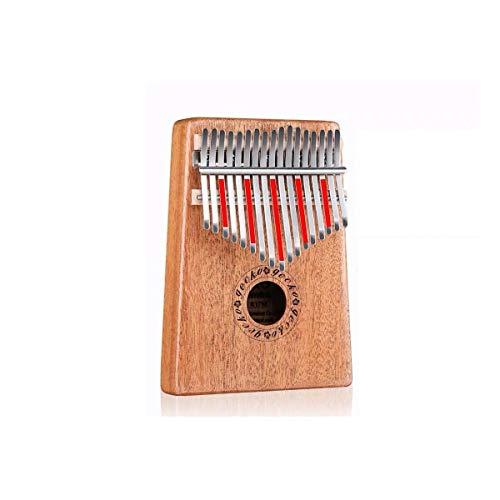 TZZD Piano à pouce Kalimba 17 touches en acajou pur, belle tonalité, facile à transporter et facile à apprendre, la couleur originale du son original de la couleur du bois, Couleur bois, 17