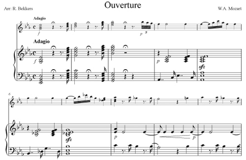 Bekkers arrangement of Mozart's Overture to the Magic Flute for piano and guitar