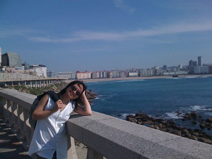 Anne Ku at the coast of La Coruna