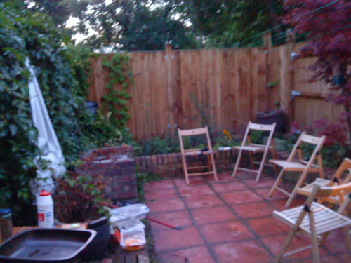 Set-up in back garden of Victorian cottage London for barbecue