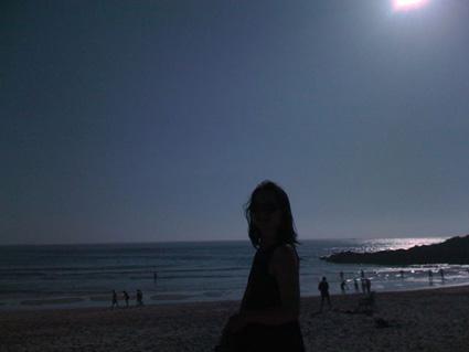 Silhouette on Ferrol beach in Spain
