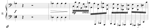 Bars 34 and 35 in the secundo part of Capriccio by Martin Blessinger
