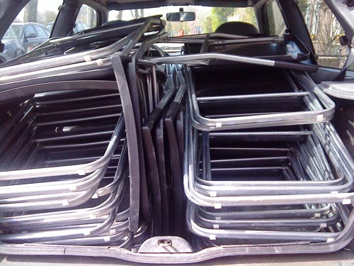 Folding chairs packed into the car