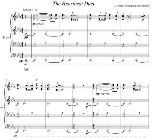 The Heartbeat Duet for 4 hands 1 piano by Michael Christopher Churchyard