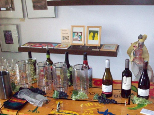 Organic wine tasting display at Funen Park 125, Amsterdam