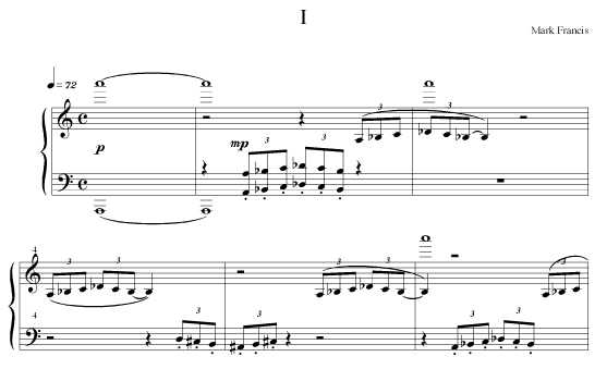 Piano part from 1st movement of 2nd Guitar Concerto by Mark Francis